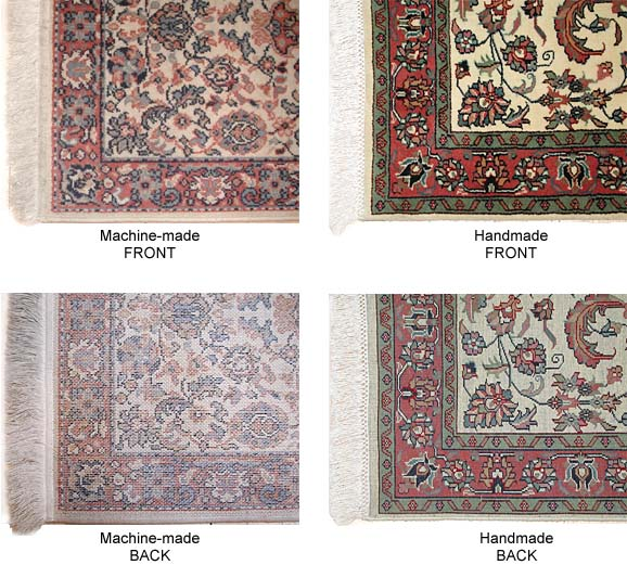 Note The Strong Visual Differences Between Machine Made And Handmade Rugs In Particular Back Of Rug Is Very Diffe