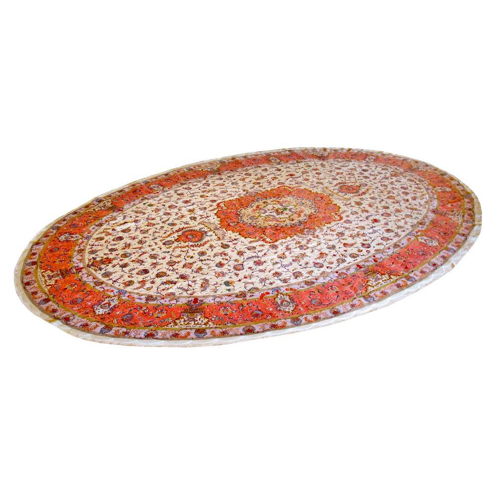 Tabriz Oval Silk And Wool Rug Oriental Rugs