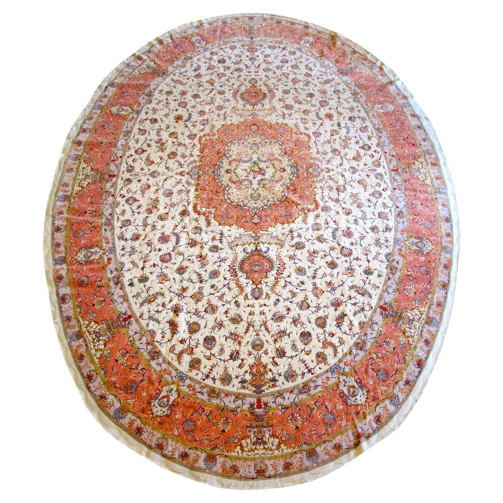 Tabriz Oval Silk And Wool Rug 16 10 X 11 5