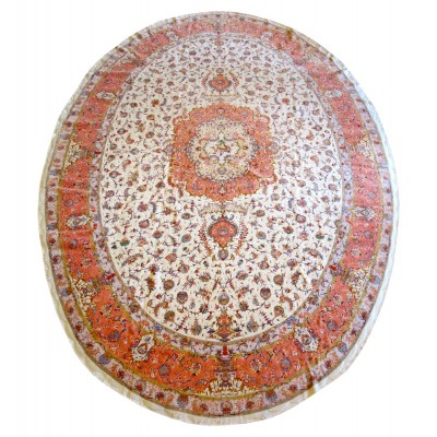 "Tabriz Oval Silk and Wool Rug(16' 10"" x 11' 5"" )"