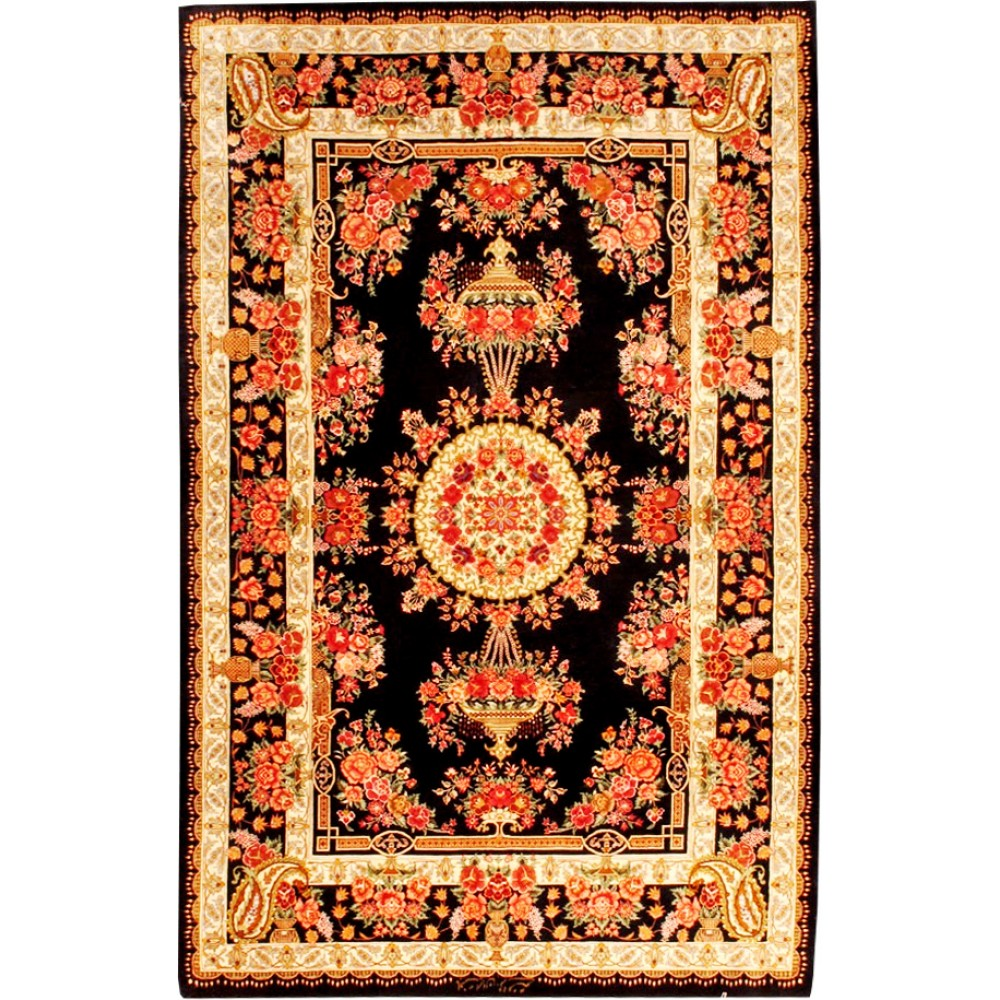 size ghoum silk rug from iran. Black Bedroom Furniture Sets. Home Design Ideas