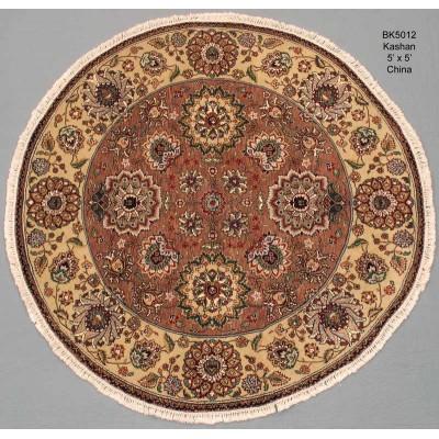 "Kashan Round Wool Rug(5' 0"" x 5' 0"" )"