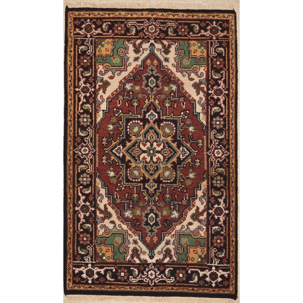 "Size 3'1"" X 5'0"" Serapi Hand Knotted Wool Rug From India"