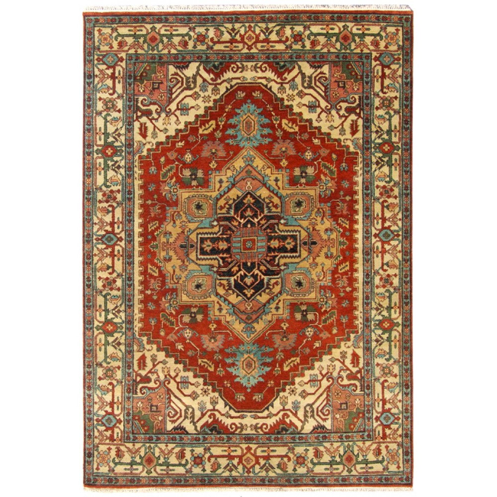 "Size 6' 01"" X 8' 11"", Heriz Wool Rug From India"