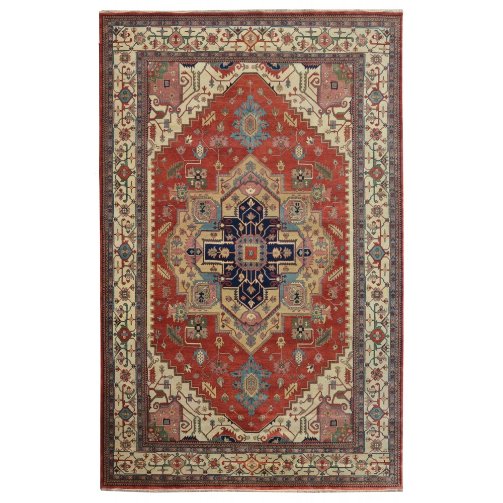"Wool Rugs Made In India: Size 12' 00"" X 17' 09"", Heriz Wool Rug From India"