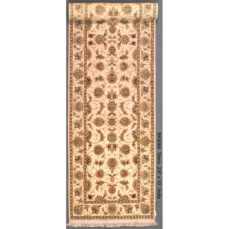 """The Size 2'6"""" X 10' Tabriz Runner Wool Rug From India"""