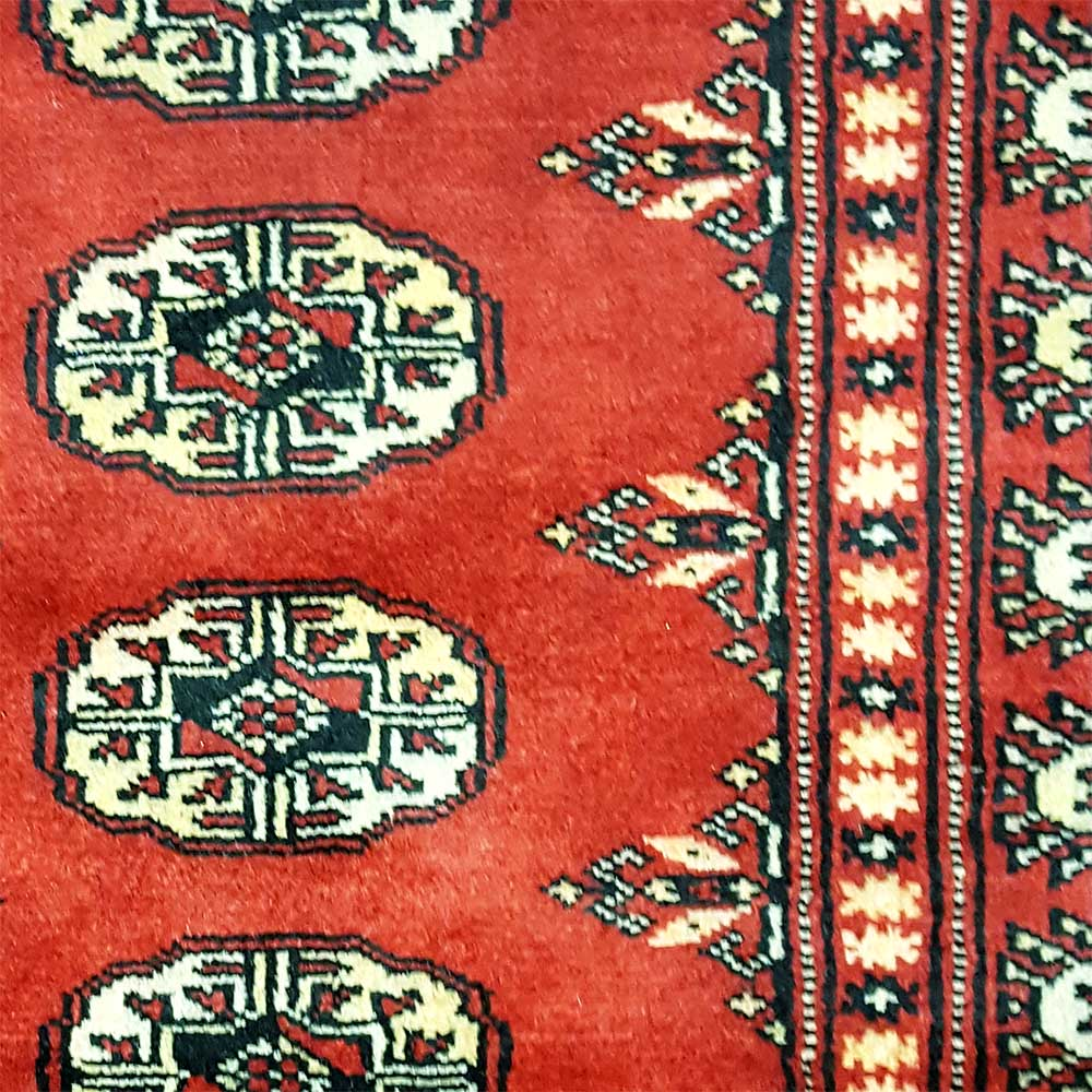 "Pakistan Mori Bokhara Rug In Red: Size 2'7""x12'8"" BOKHARA Wool Rug Pakistan"