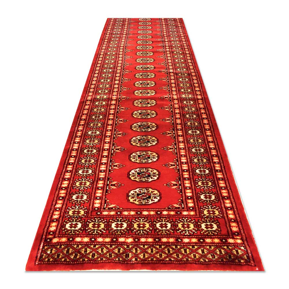"Pakistan Bokhara Rugs In Red: Size 2'7""x12'8"" BOKHARA Wool Rug Pakistan"