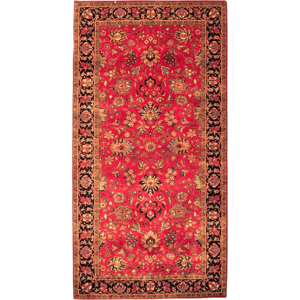 """Size 2 7 X6 2 Agra Rug India: Size 4' 2"""" X 7' 8"""" Red And Navy Kashmar Wool Rug From India"""