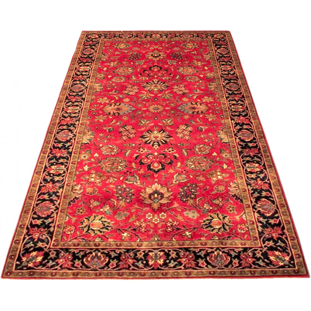 Size 4 2 X 7 8 Red And Navy Kashmar Wool Rug From India