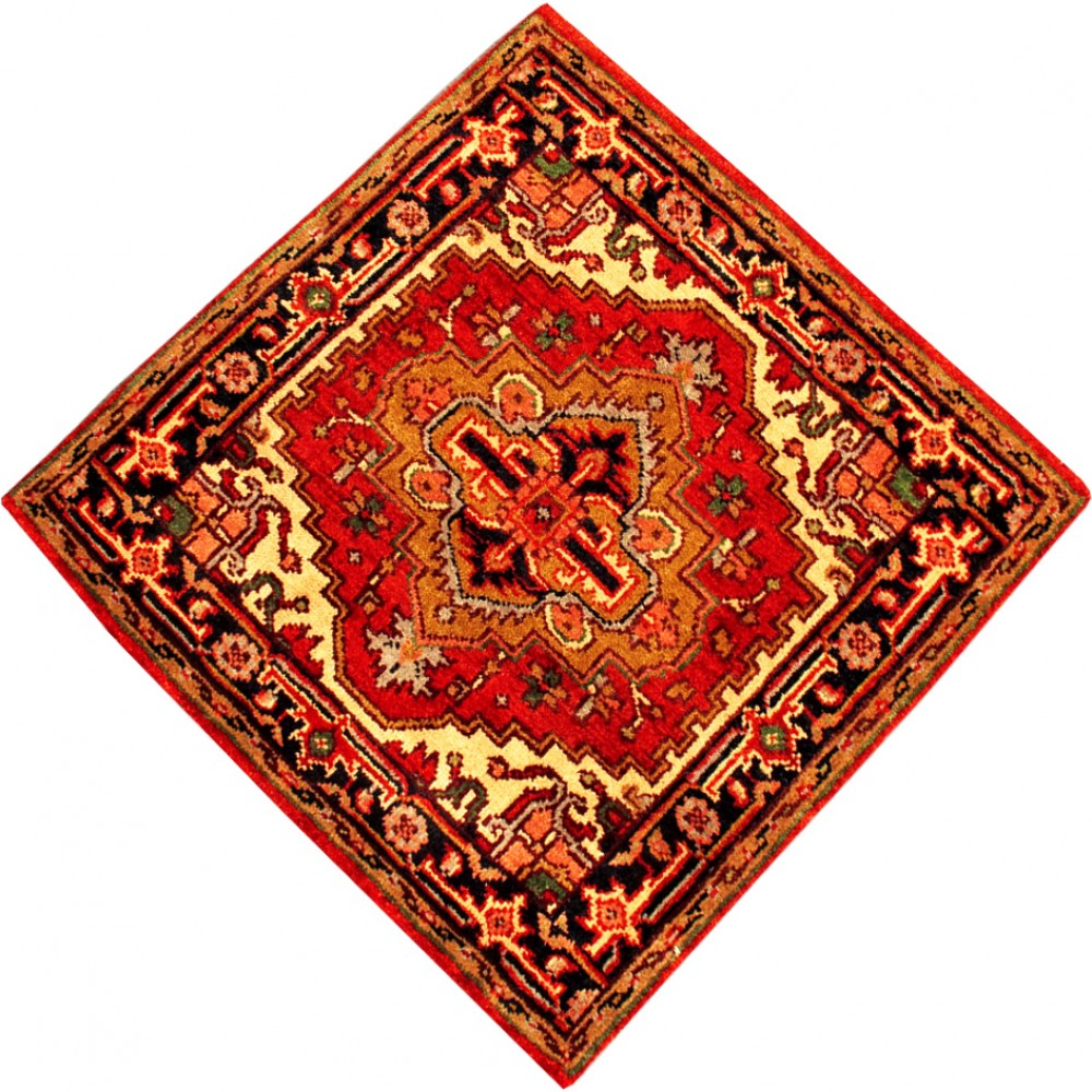 """Rugs Made In India For Sale: Size 3' 1"""" X 3' 1"""" Serapi Wool Rug From India"""